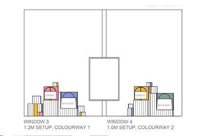 Prop Studios' original artboard to show how Anya Hindmarch's merchandise would interact with the colour block sculptures
