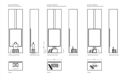 Prop Studios' original plans, showing how the window scheme would fit within the Anya Hindmarch store