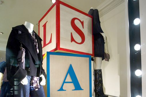 Close-up of Stella McCartney window display, designed by Prop Studios to highlight the fashion brand's sale