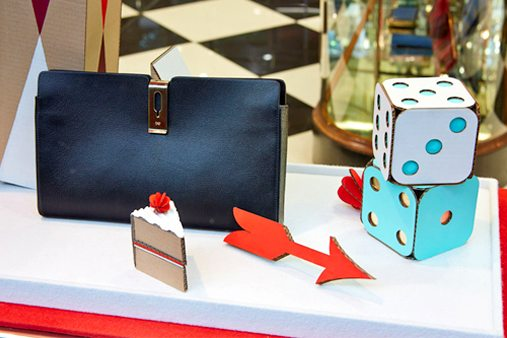 Prop Studios added a gouache acrylic paint effect, to give each shape in the Anya Hindmarch window a matte effect finish