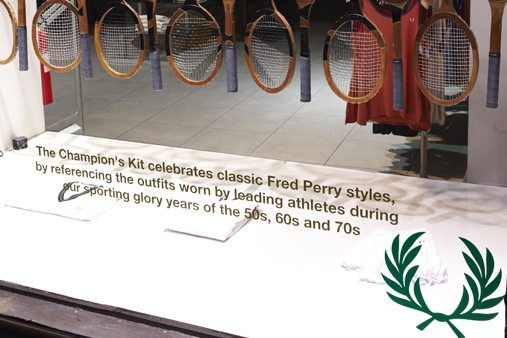 Close-up of the Fred Perry window