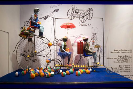 Exterior shot of the Selfridges window, constructed and designed by Prop Studios along a Wacky Races theme