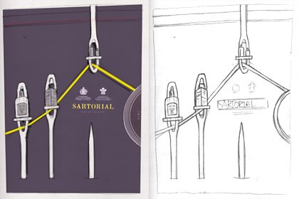 Prop Studios' initial concept sketches for the Penhaligon's neon yellow rope and giant needles