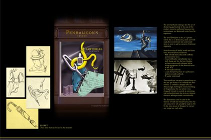 Original Prop Studios concept designs and sketches for the Penhaligon's Sartorial window campaign
