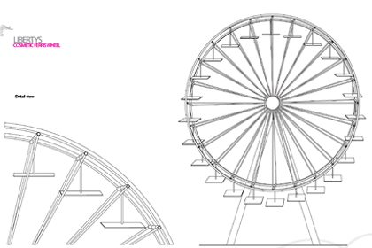 Conceptual sketch showing the Liberty Ferris wheel, designed and built by Prop Studios