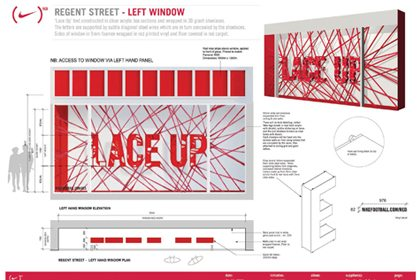 Additional technical design notes showing Prop Studios' design for the Niketown window scheme