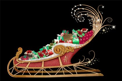 Original Prop Studios concept drawing showing the Harrods sleigh, filled with presents