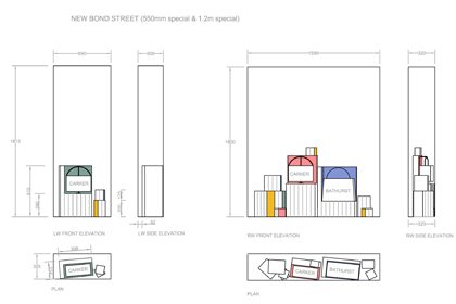 Blueprint of the Anya Hindmarch windows, depicting the positioning of Prop Studios' colour blocks