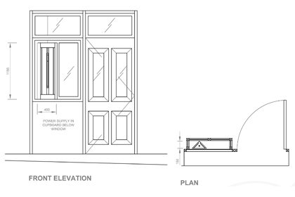 Front elevation and plan drawings showing the layout of the Paul Smith store