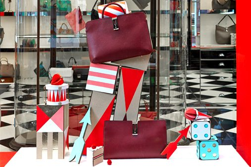 Each Anya Hindmarch bag was positioned at the forefront of the window display to appear like a still life in its own space