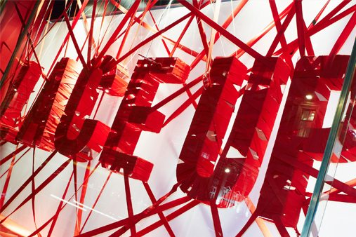 Close-up shot of one of Prop Studios' lace sculptures for Niketown