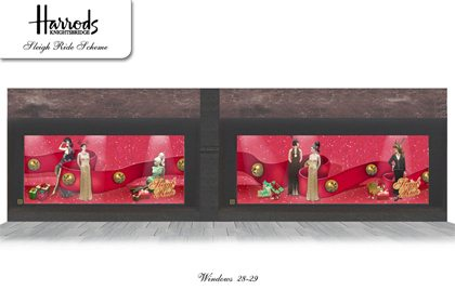 Concept drawing for more of the windows designed for Harrods by Prop Studios