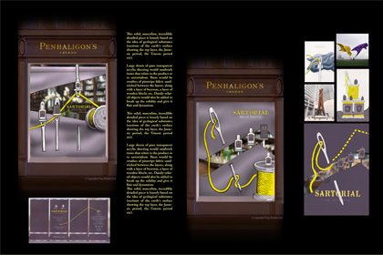 Additional artboard, showing Prop Studios' original concept designs and sketches for the Penhaligon's Sartorial window campaign