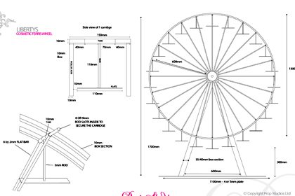 Alternative version of technical drawing, submitted to Liberty by Prop Studios to show how the Ferris wheel would be constructed