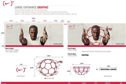 Technical design for entrance graphic, designed exclusively for Niketown by Prop Studios and FormRoom