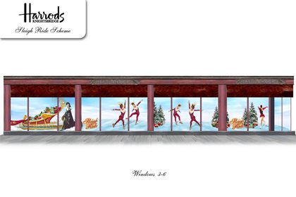 Concept sketch showing three of Prop Studios' festive window designs for Harrods