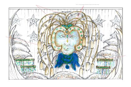 Prop Studios' original colour sketch showing the design for one of the Al Rubaiyat windows