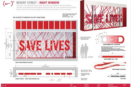 Technical design drawing for the right window of Niketown