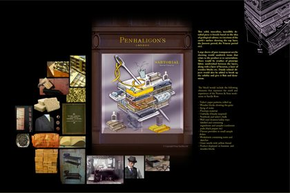 Final artboard to show Prop Studios' concepts for the various giant cotton reels designed for Penhaligon's