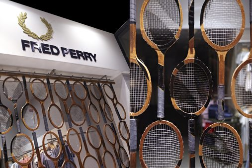 Close-up of the subtle paintwork designed by Prop Studios to depict the Fred Perry logo
