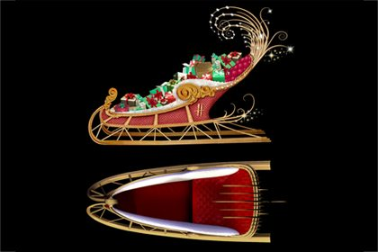 Multiple angles of Prop Studios' sleigh design for Harrods' Christmas windows