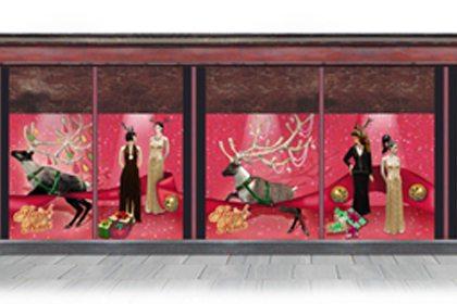 Concept drawing showing how Prop Studios' display would look in the Harrods window