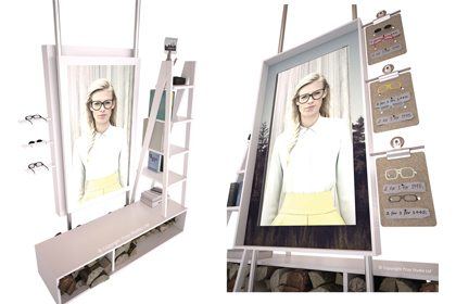 Artboard images showing the designs for the shelves displayed within the windows