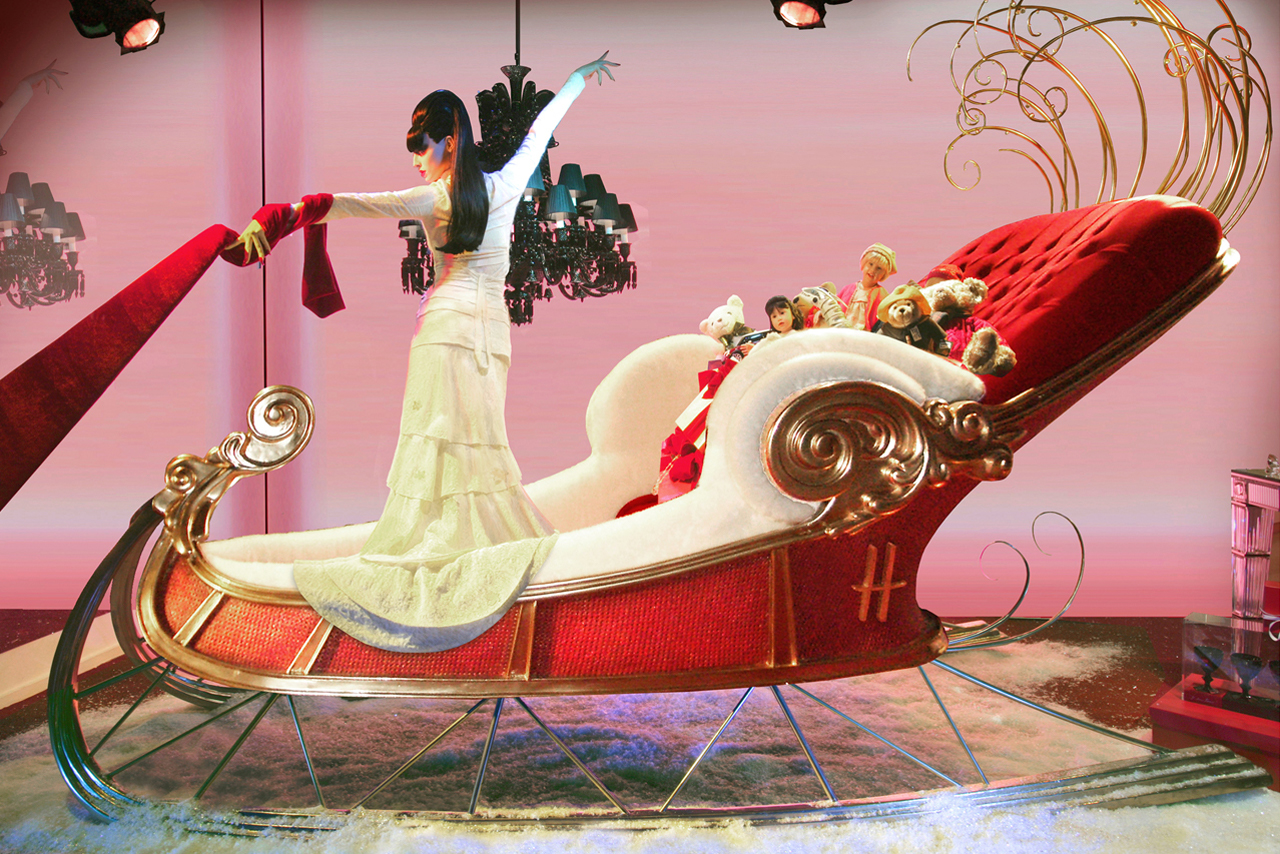 Close-up image of one of the Harrods-branded sleighs, designed exclusively for the store by Prop Studios