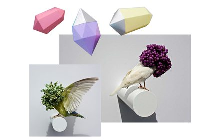 3D computer render of the bird sculptures created exclusively for Ted Baker by Prop Studios