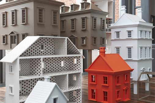 Close-up image of Prop Studios' exclusive dollhouse display for Mulberry