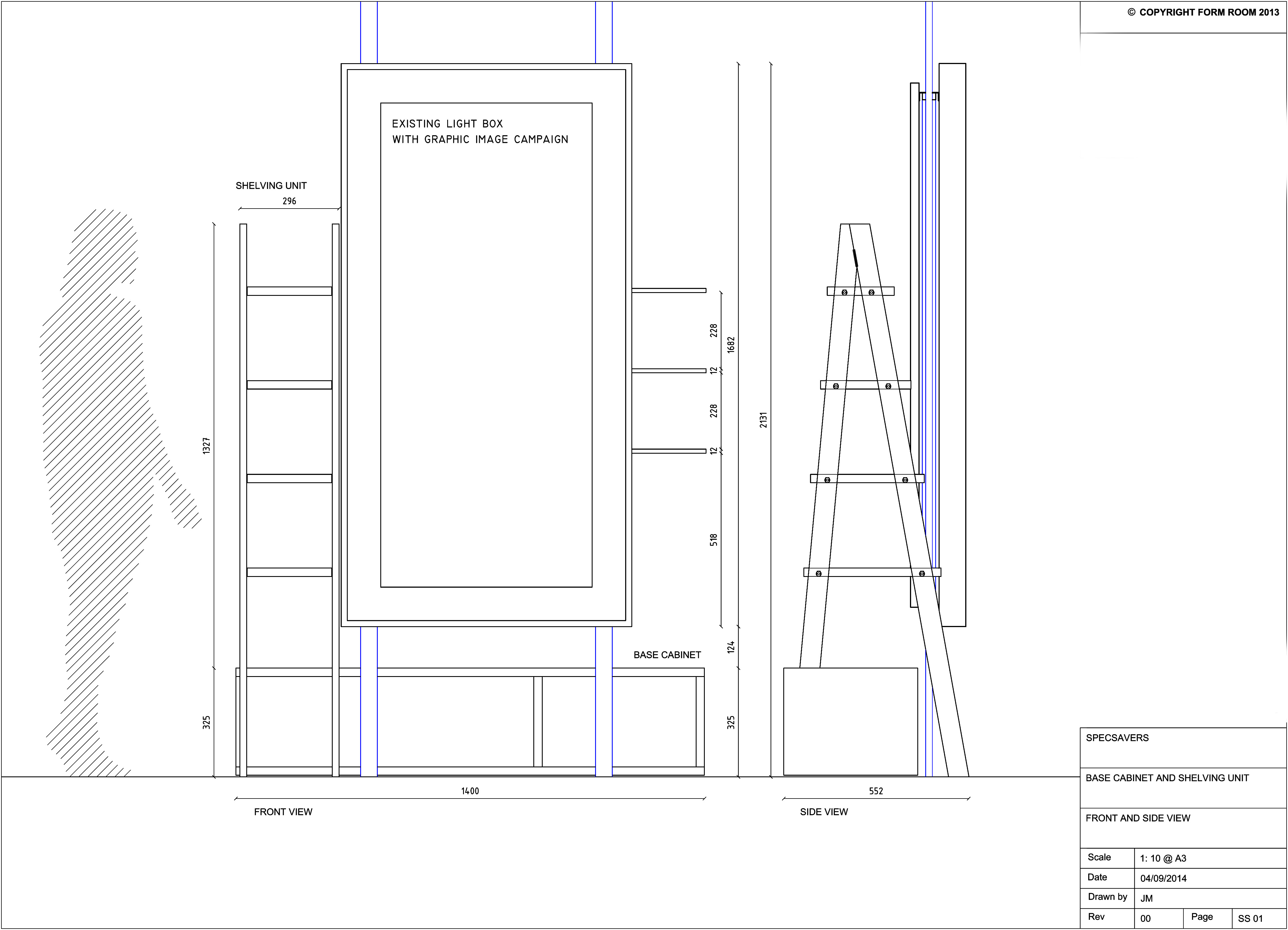 Technical drawing to show the dimensions of the shelves constructed by Prop Studios for the window display