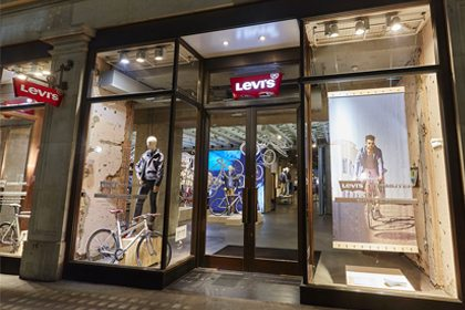 Exterior view of the Levi's store, showing the placement of Prop Studios' visual merchandising scheme