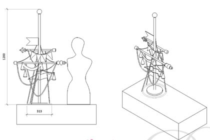 Technical drawing of the mannequin and mast, as well as the display table on which they stand within the Anya Hindmarch store