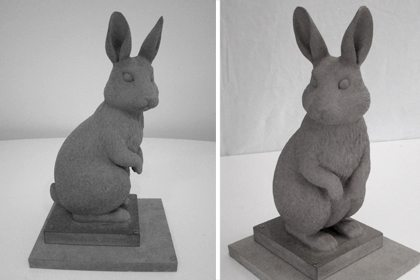 Image of the rabbit sculpture just after being constructive, before the black flocking was applied