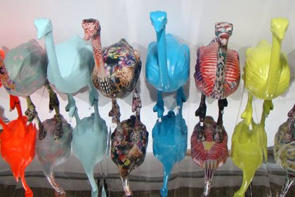 Eight of the ostrich sculptures, some spraypainted and others papier mached exclusively for Topshop by Prop Studios