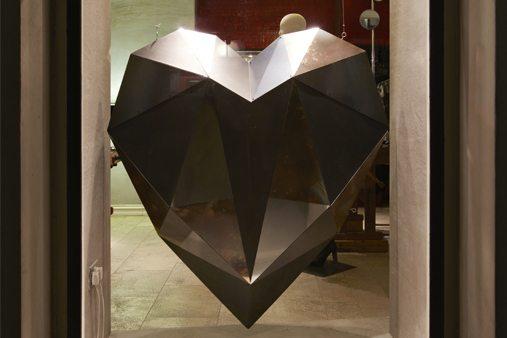 Close-up image of one of the five heart sculptures, designed by Prop Studios to resemble the Diesel perfume bottle