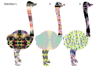 Image showing some of the bespoke designs for Prop Studios' ostrich sculptures