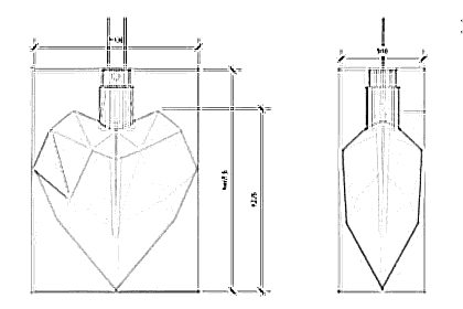 Diagram showing the dimensions of each Diesel perfume bottle sculpture