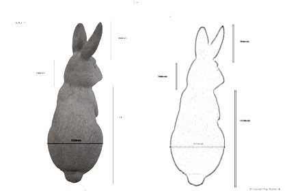 Back view of the rabbit, showing the dimensions of the sculpture