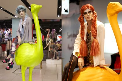 Two of the neon ostrich sculptures, designed and sculpted exclusively for Topshop by Prop Studios