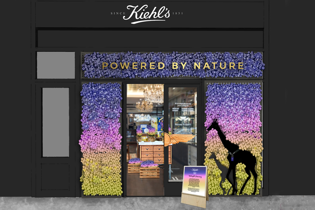 Exterior view of the full award-winning Kiehl's retail design concept by Prop Studios
