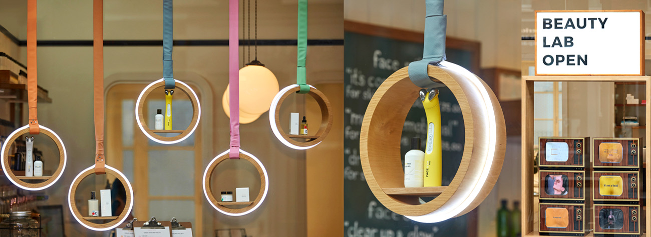 The hoops are used to demonstrate Facegym's range of products as part of the window display