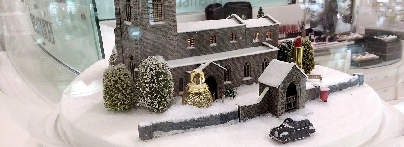 Each of Prop Studios' displays featured a traditional Christmas scene, incorporating one of the perfumes on sale within the Black Hall