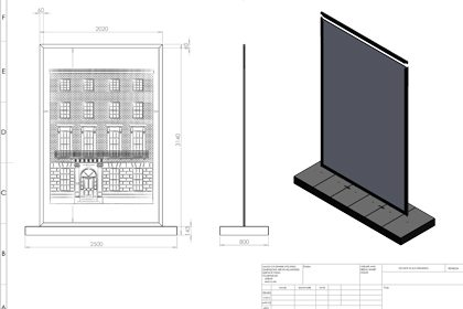 Technical sketch of Jo Malone townhouse window design