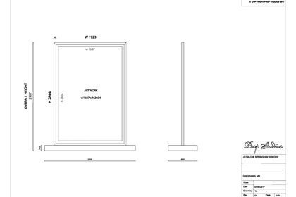 One of Prop Studios' original blueprint sketches for the Jo Malone window