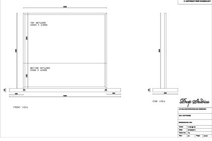 Technical sketch by Prop Studios showing how the window will be constructed