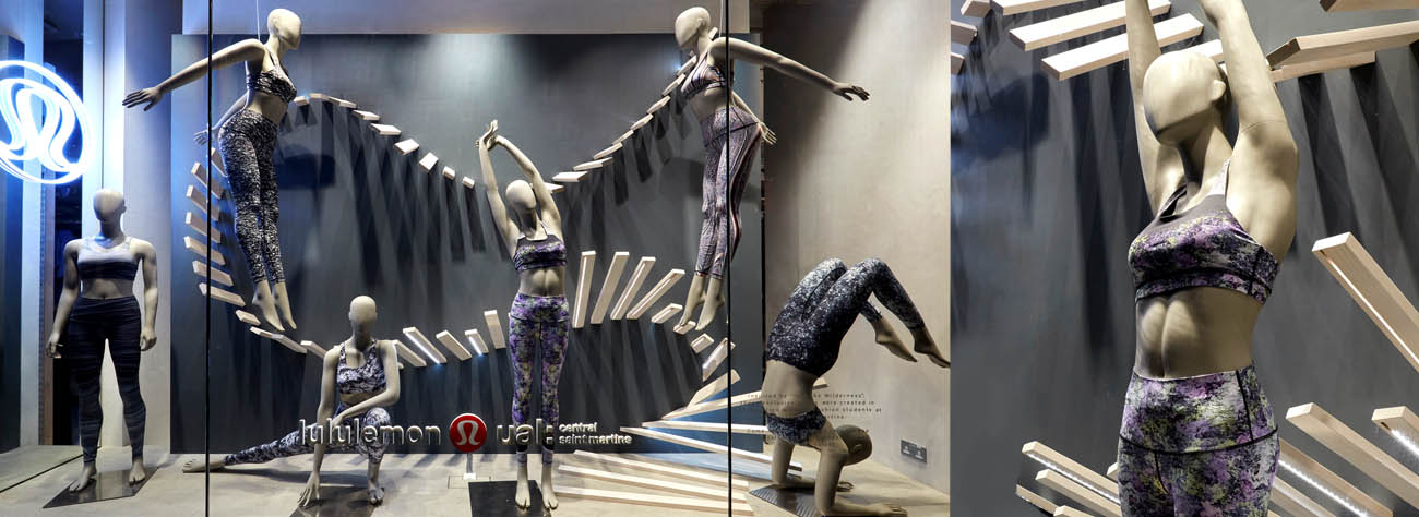 Close-up of mannequins in Lululemon window display