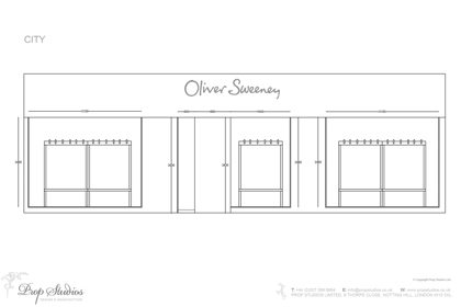 Full view of the windows of one of the Oliver Sweeney stores designed by Prop Studios