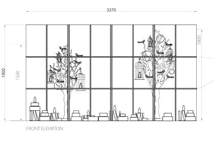 Prop Studios' original technical drawing, showing the positioning of our bespoke sculptures as they would appear in the Penhaligon's window
