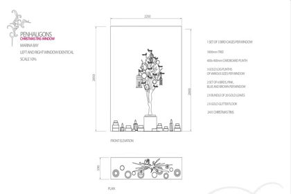 Technical sketch describing how the display would be constructed within one of Penhaligon's windows